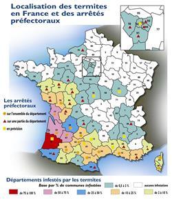 Localisation des termites en France