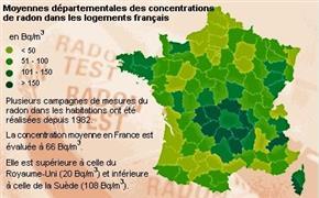 Carte de France de les concentrations de radon